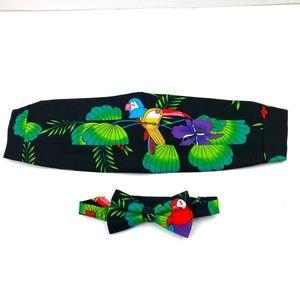 Vintage Cummerbund Bow Tie Set Tropical Parrots